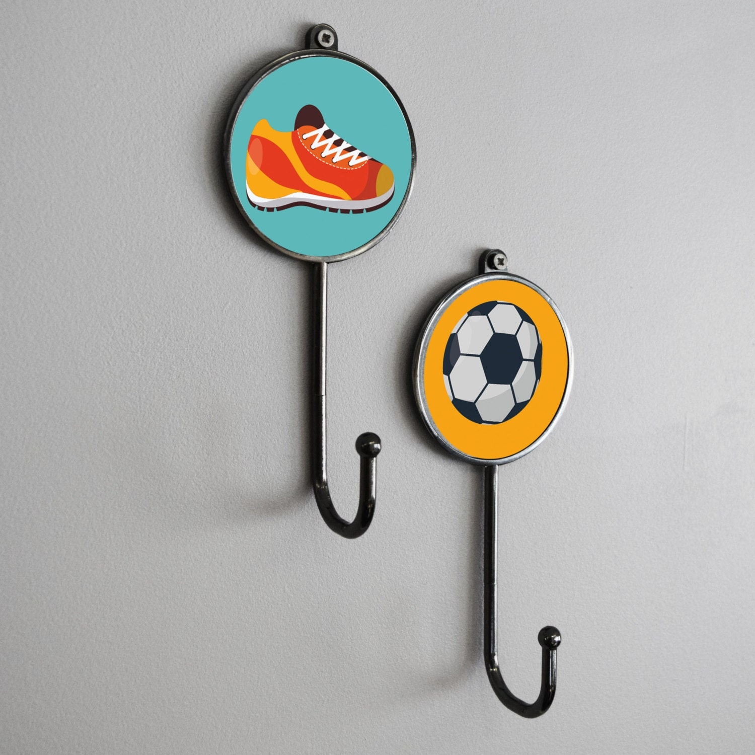 Sports Activity Themed Wall Coat Clothes Towel Robe Metal Storage hanger Hooks