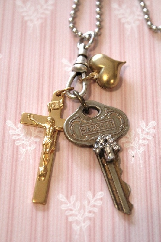 key necklace, assemblage, religious