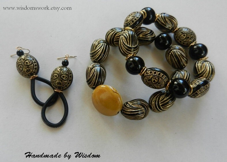 Black and Gold Stacked Bracelet Set with Matching Coil Earrings