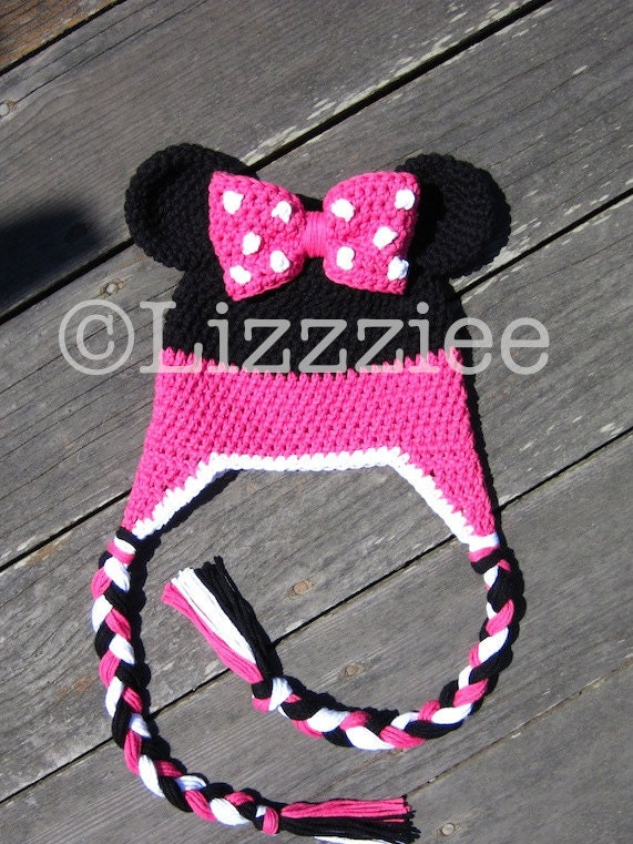 Crochet Patterns For Minnie Mouse : Minnie Mouse Stripe Crochet Beanie PDF Pattern fun to by ...