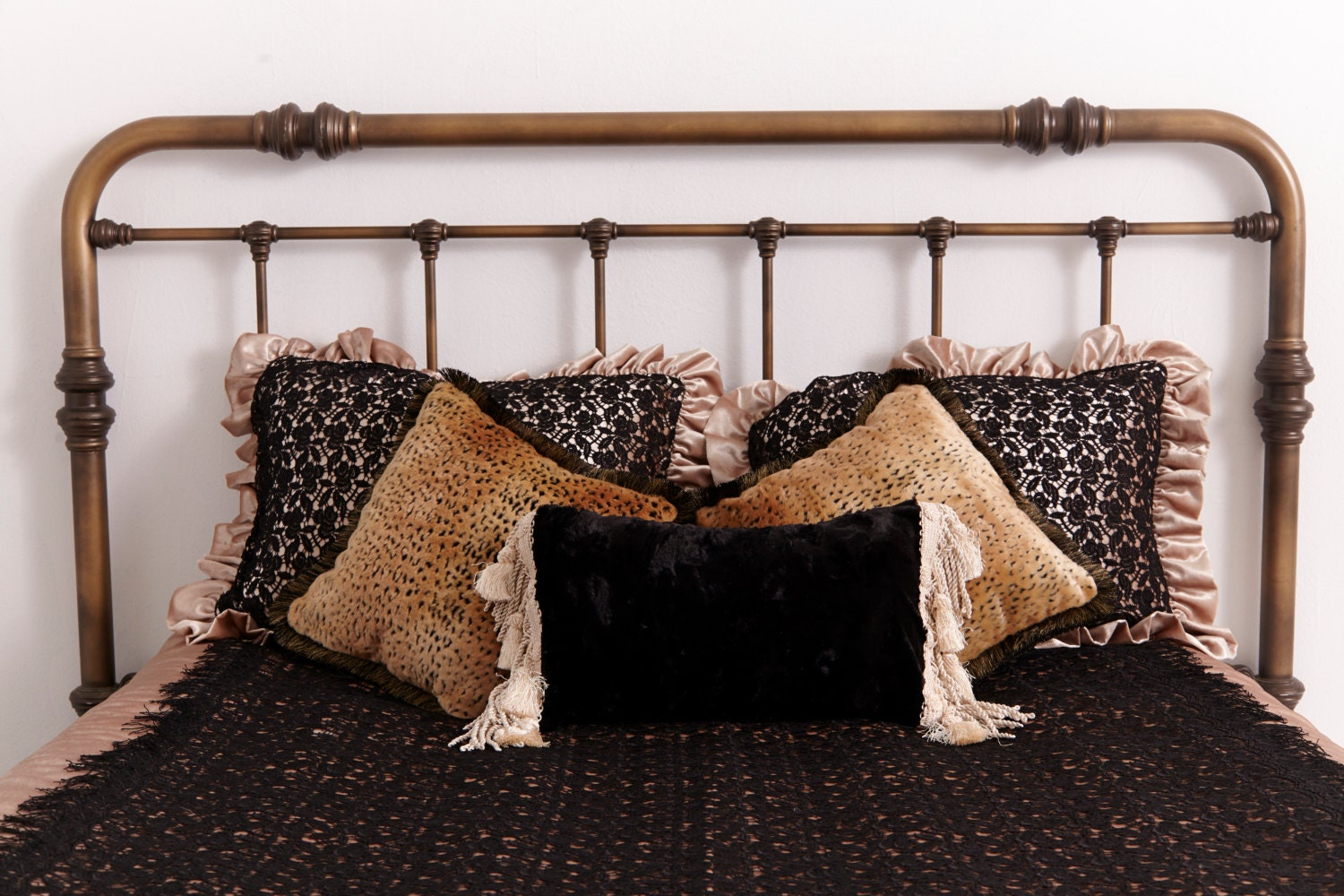 Velvet Throw Pillow Creme Silken Velvet Reverses to Gorgeous Black Velvet with Lavish Fringe and Tassels - CloudHunterCo