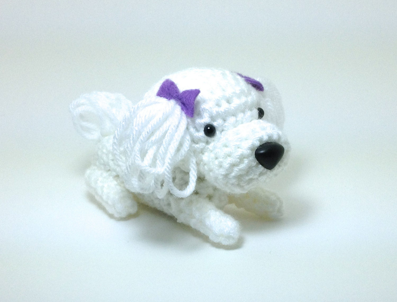 Maltese Amigurumi Dog Crochet Dog Stuffed Animal Doll by ...