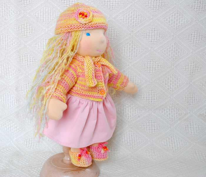 pumpkin color waldorf doll clothes sweater hat scarf and socks .