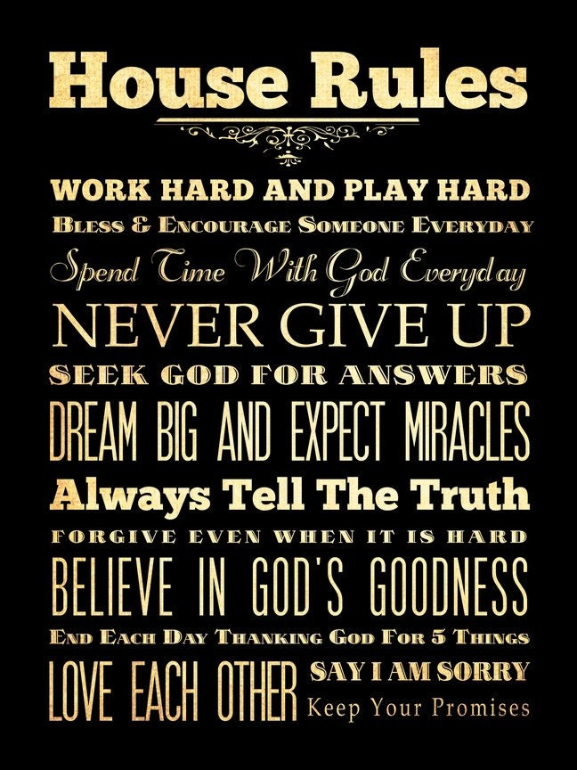 items similar to family rules house rules subway roll typography art poster 18x24 wall