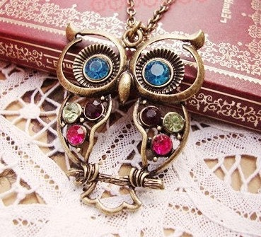 Colorful Hollow Owl Necklace