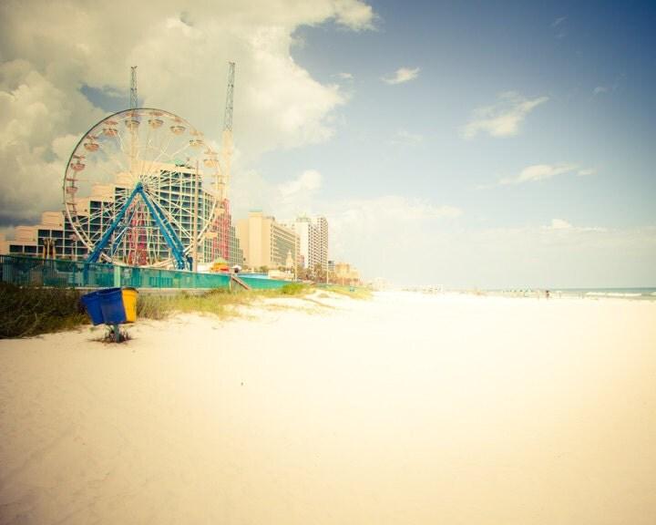 Ferris Wheel on Beach - 8 x 10 Fine Art Print, daytona, florida coast, ocean side, carnival, fair, summer fun - BackyardPhoto