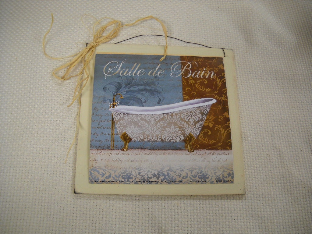 Items similar to salle de bain bath tub sign french for Salle de bain door sign