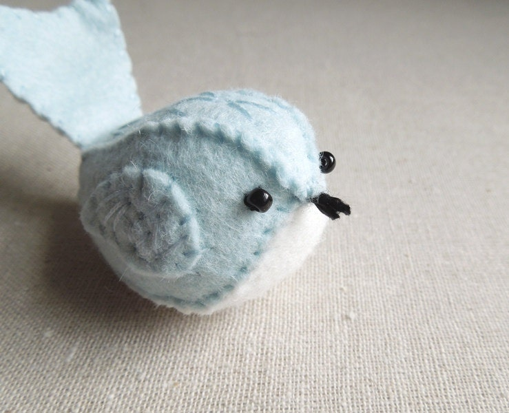 Embroidered Felt Bird Ornament in Pale Ice Blue