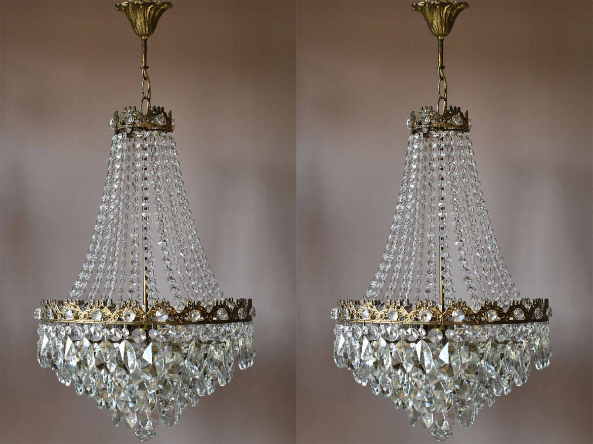 Vintage Crystal PAIR OF CHANDELIERS Art Nouveau Lights Home Living Lustre Antique French Vintage Crystal Chandelier  Lamp Lighting Fixture