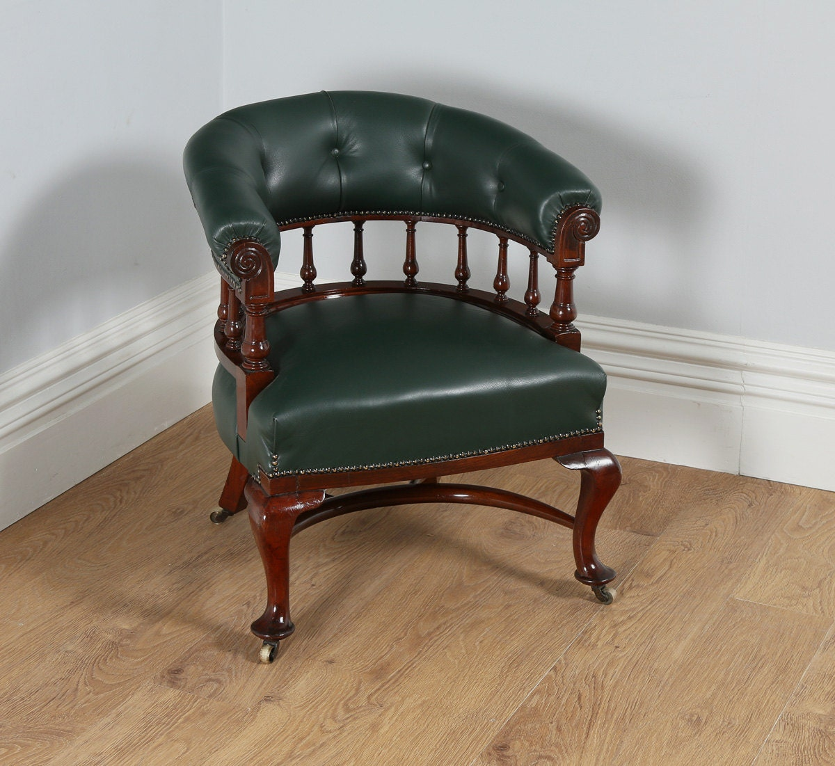 Antique English Victorian Mahogany Office Green Leather Desk Tub Library Captains Armchair  Chair (Circa 1890)