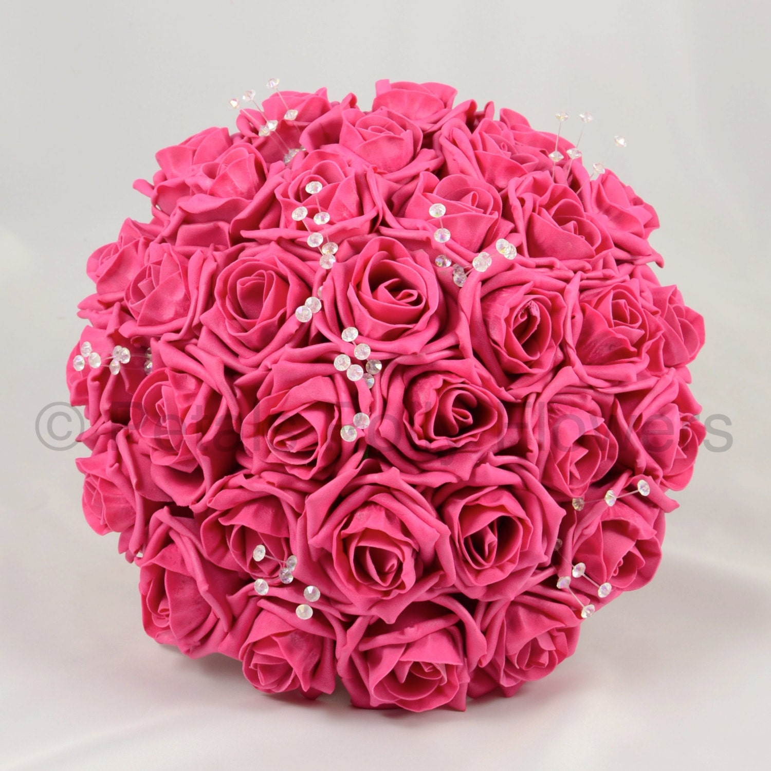 Artificial Wedding Flowers Hot Pink Brides Bouquet Posy