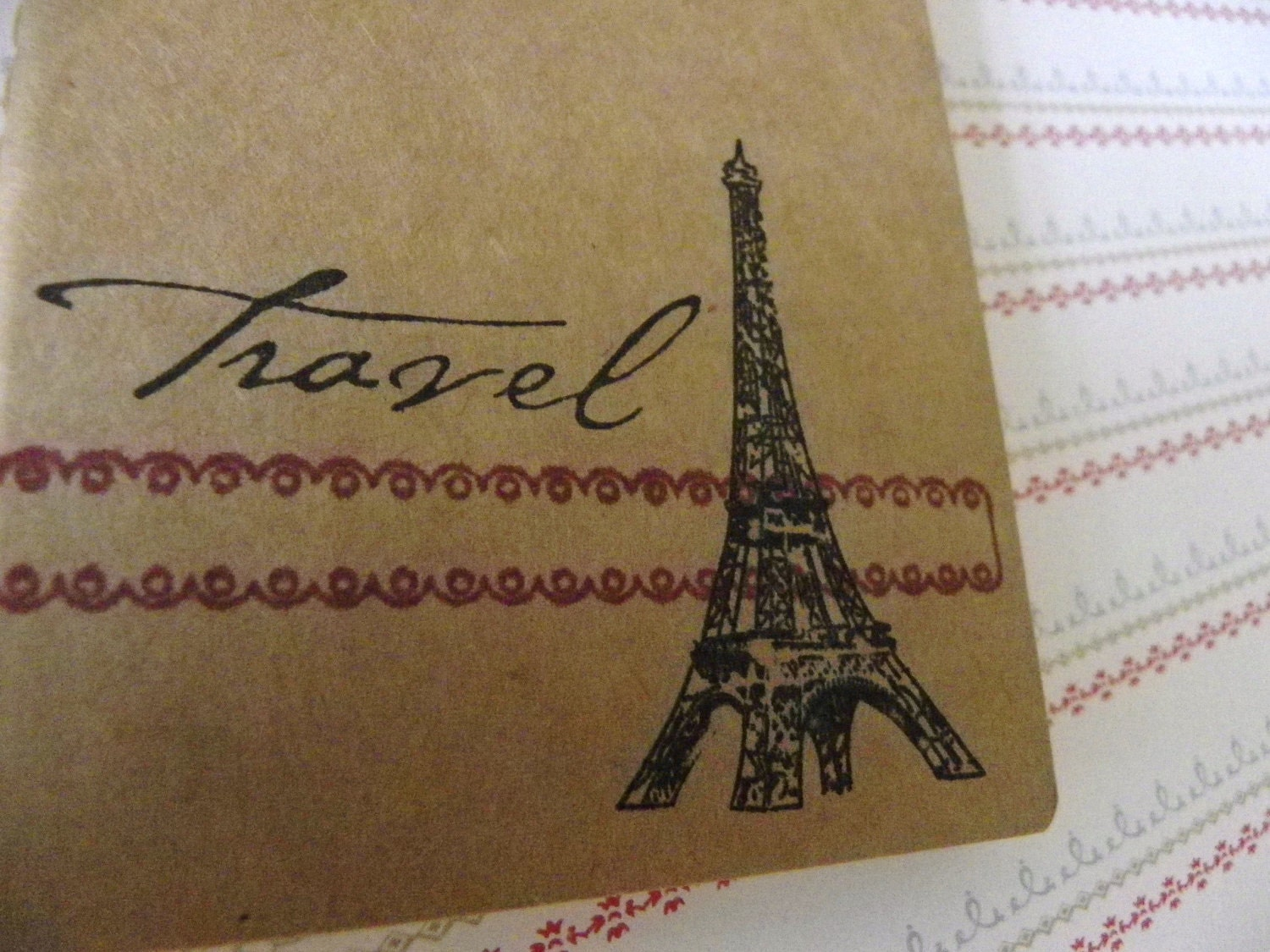 Travel - hand stamped Journal