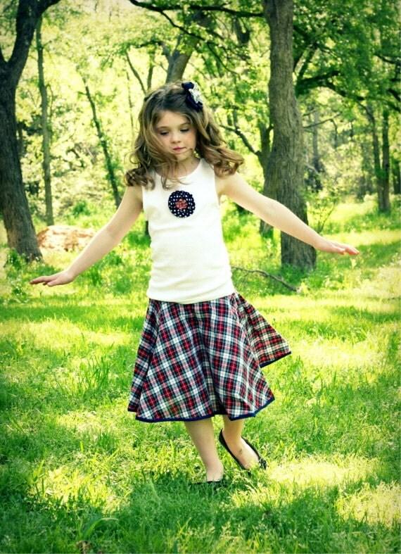 Vintage Inspired Girls Plaid Circle Twirl Skirt - GirliePearlie3
