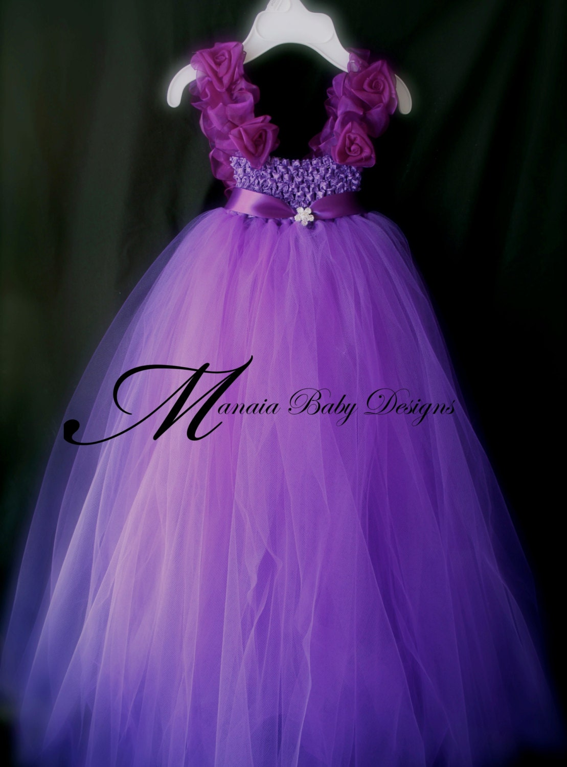 Purple Flower Girl Tutu Dress by ManaiaBabyDesigns on Etsy