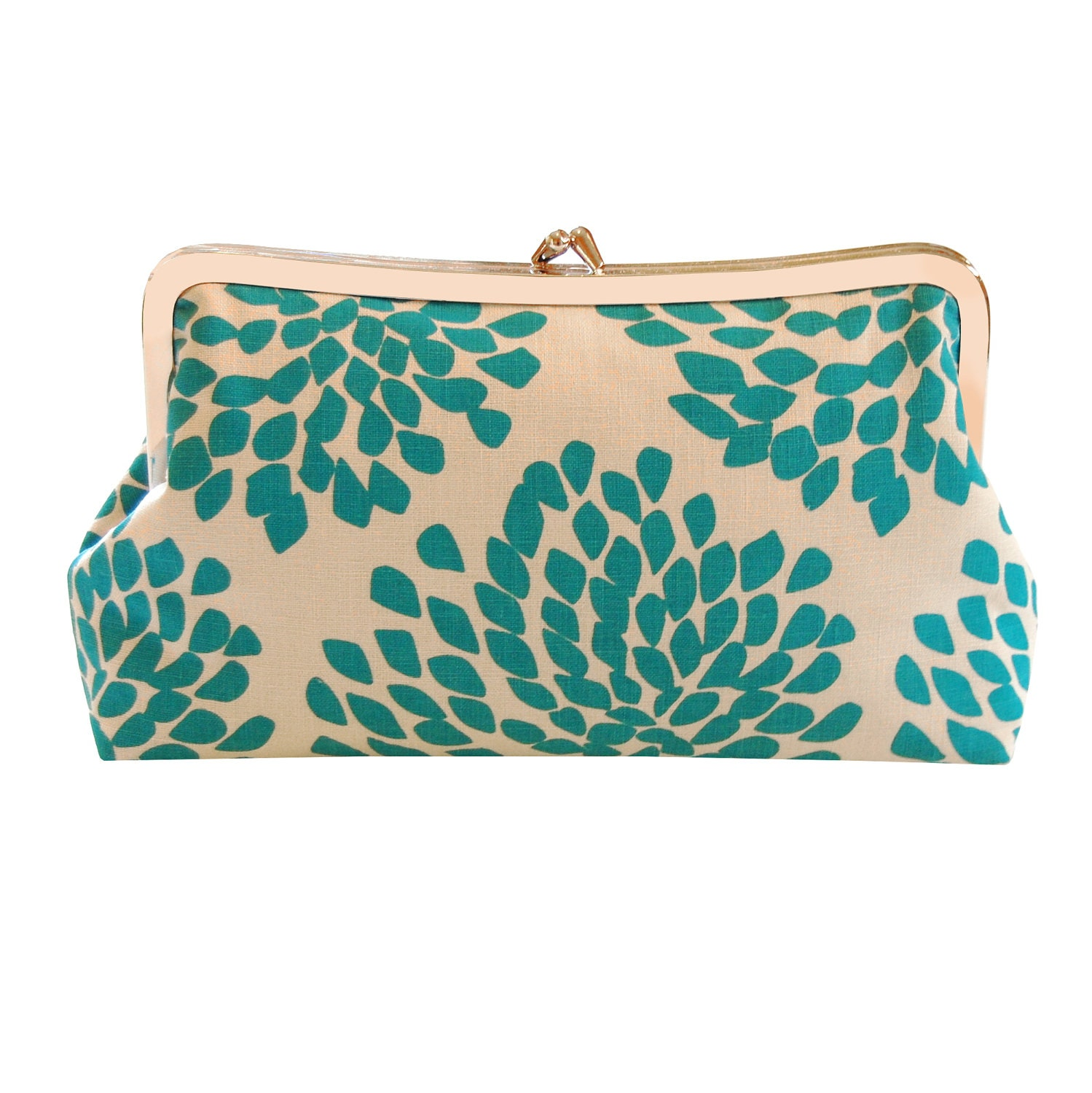 Clutch purse with aqua blossoms screenprint
