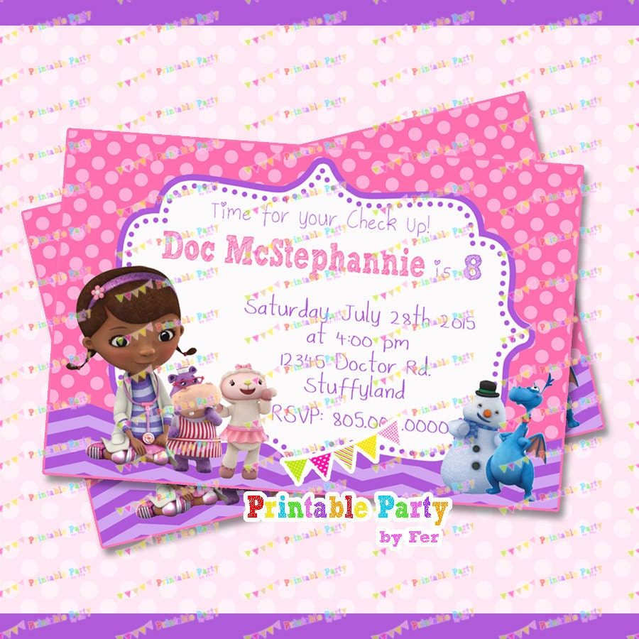 Doc Mcstuffins invitation invitations by PrintablePartybyFer