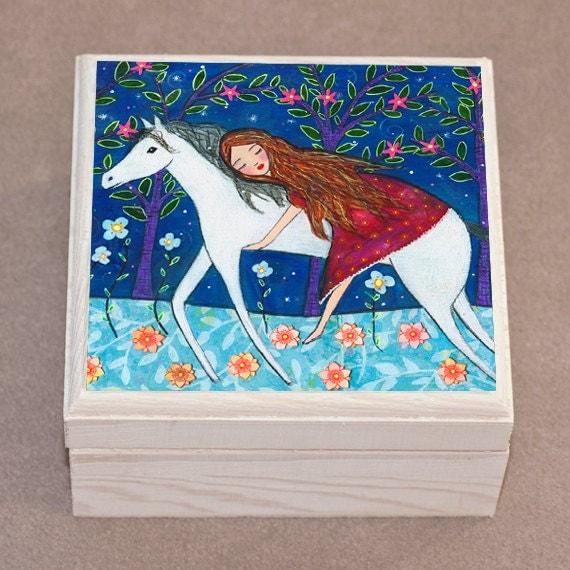 Horse Jewelry Box  Horse Gift Horse Lover Gift  Wooden Horse Jewlery Box  Horse Trinket Box  Jewelry Organizer Box  Jewellery Box
