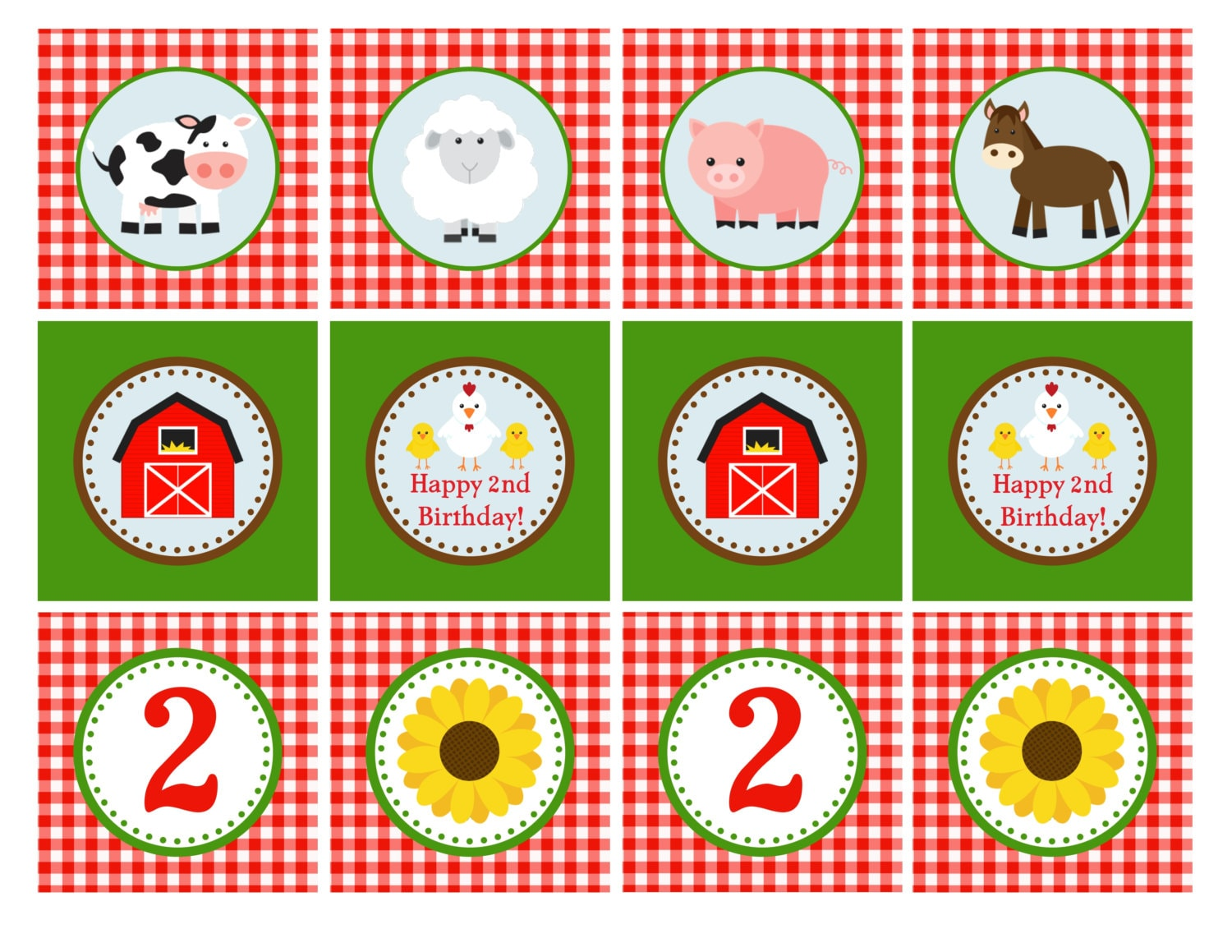 PRINTABLE: Farm Animal Cupcake Toppers 2 by GeminiCelebrations