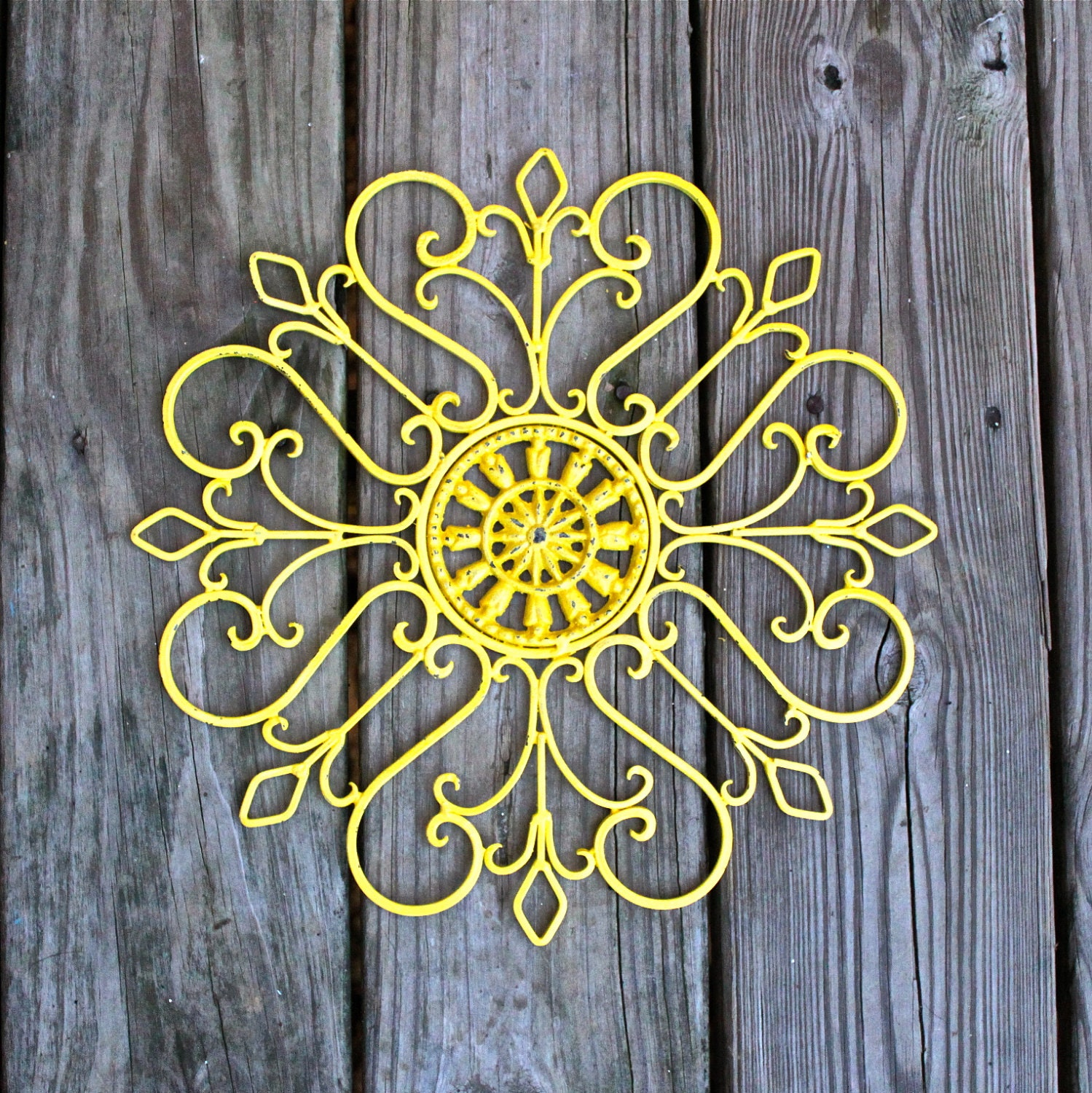 Distressed Metal Wall Decor : Metal wall fixture yellow distressed patio by aquaxpressions