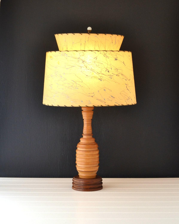mid century lamp fiberglass shade atomic era turned wood base. Black Bedroom Furniture Sets. Home Design Ideas