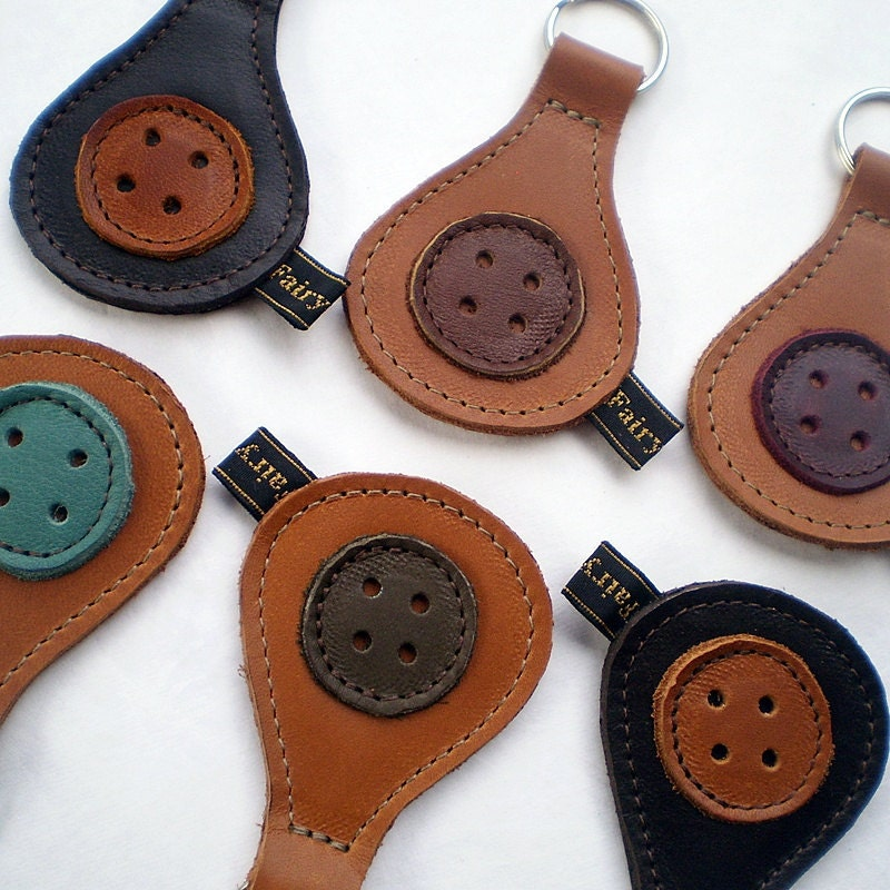 Handmade leather Key Fob, Key ring, mixed colours leather, HENDREARY by Fairysteps