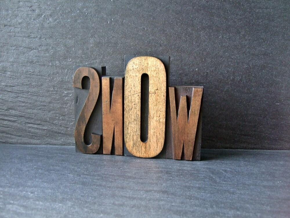 SNOW - Vintage Letterpress Word - HandmadeByAlison