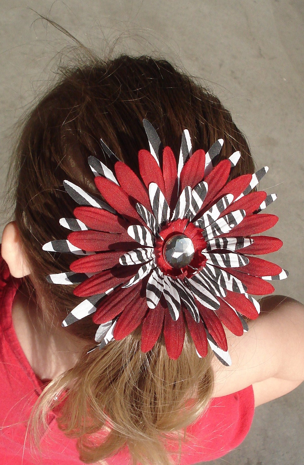 Red and zebra flower clip with FREE SHIPPING