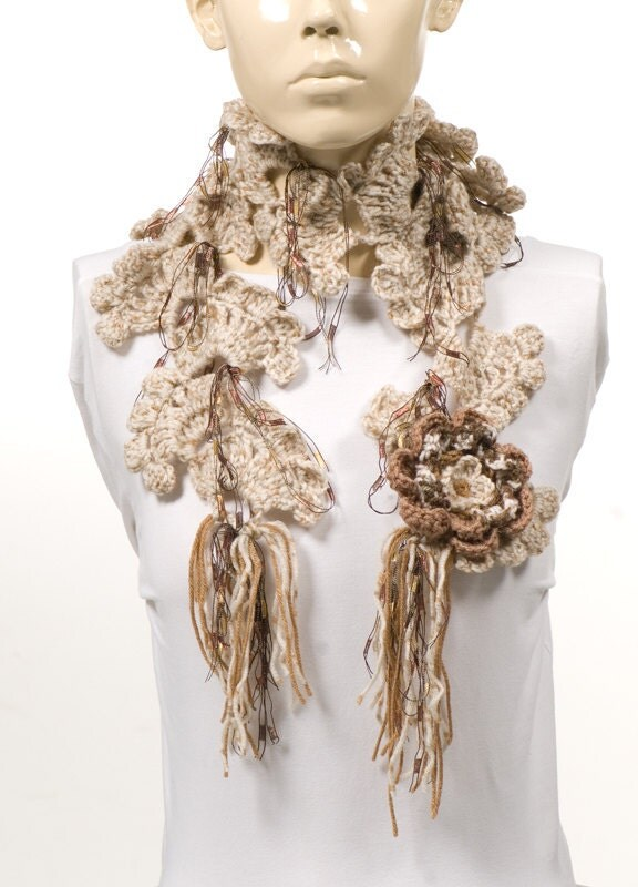 on sale for brown scarf crochet scarf by