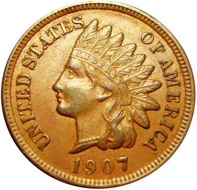 1907  Indian Cent Full Bold Liberty Diamonds on Headdress Sharp Features AU  Coins Make Cents - riggsbyscorner