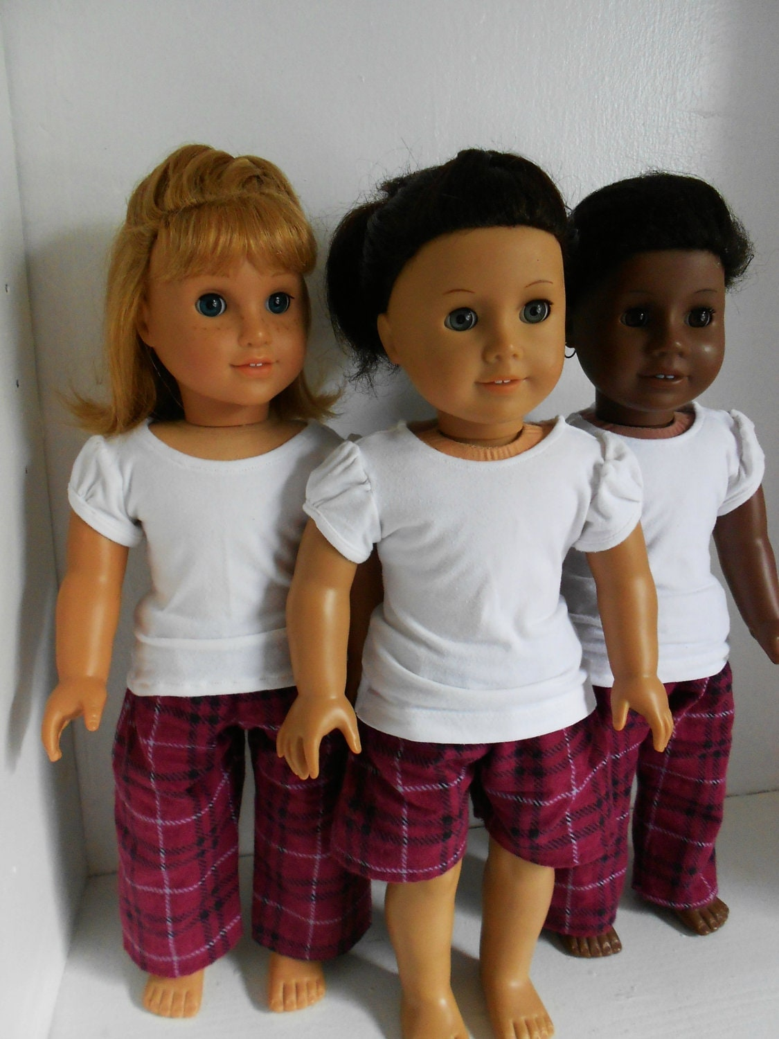Plaid Flannel Pants and Tee Shirt Pajama Set for American Girl Dolls by DolzDreamzzz
