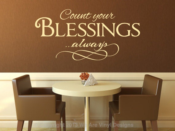 christian wall decal count your blessings by wearevinyldesigns. Black Bedroom Furniture Sets. Home Design Ideas