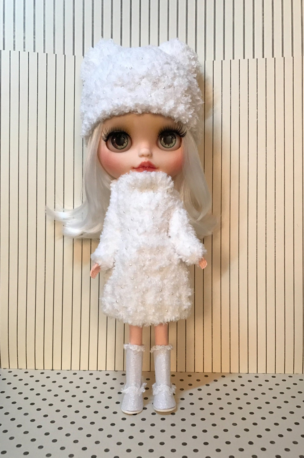Blythe doll  outfit  hand knitted in super soft teddy yarn dress and matching Pom Pom  hat with tiny pearl beads hand sewn on