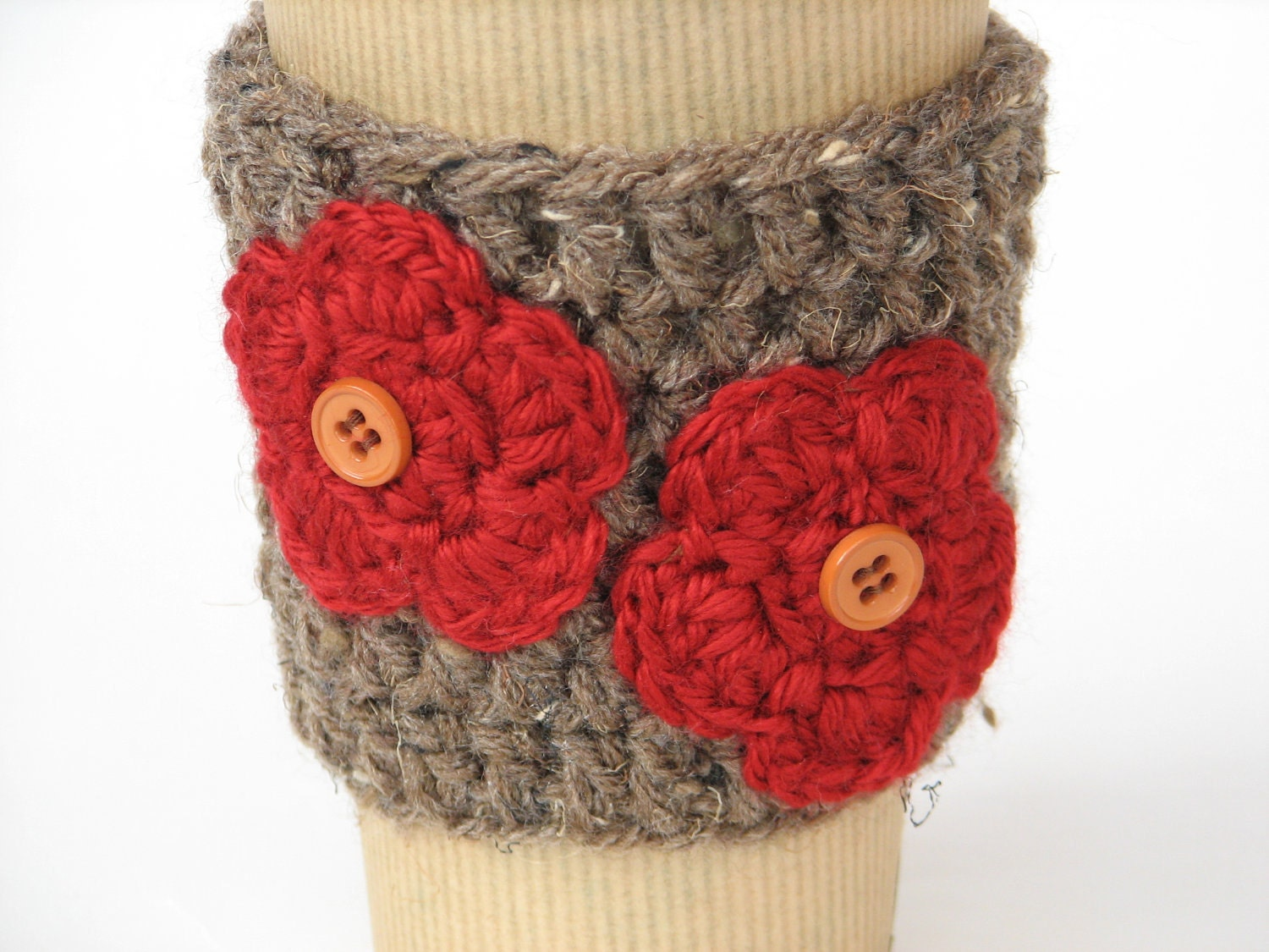 Coffee  Cozy  in Brown Color with Red Flower and Tiny Buttoms,Coffee Sleeve, Tea Cozy, Cup Warmer, Crochet Cozy
