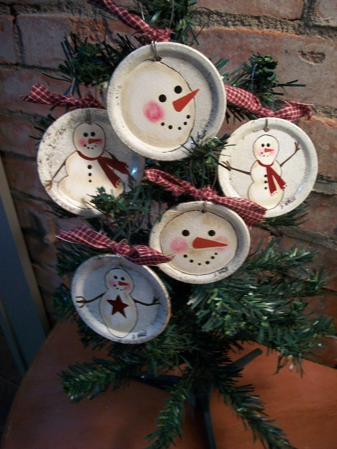 Hand Painted Snowman Ornaments On Canning Jar By