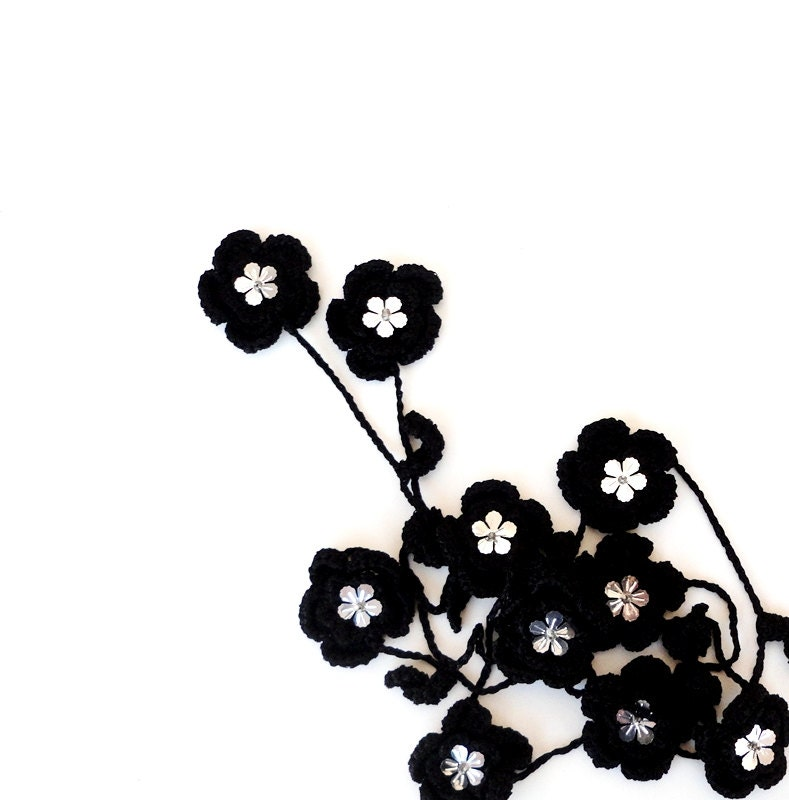 Black Flower Crochet Necklace,Crocheted Jewelry,lariat ,wrap, crocheted textile jewelry - ScarfLovers