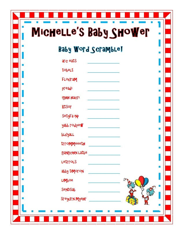 dr seuss baby shower sprinkle party word scramble game 8x11 printable