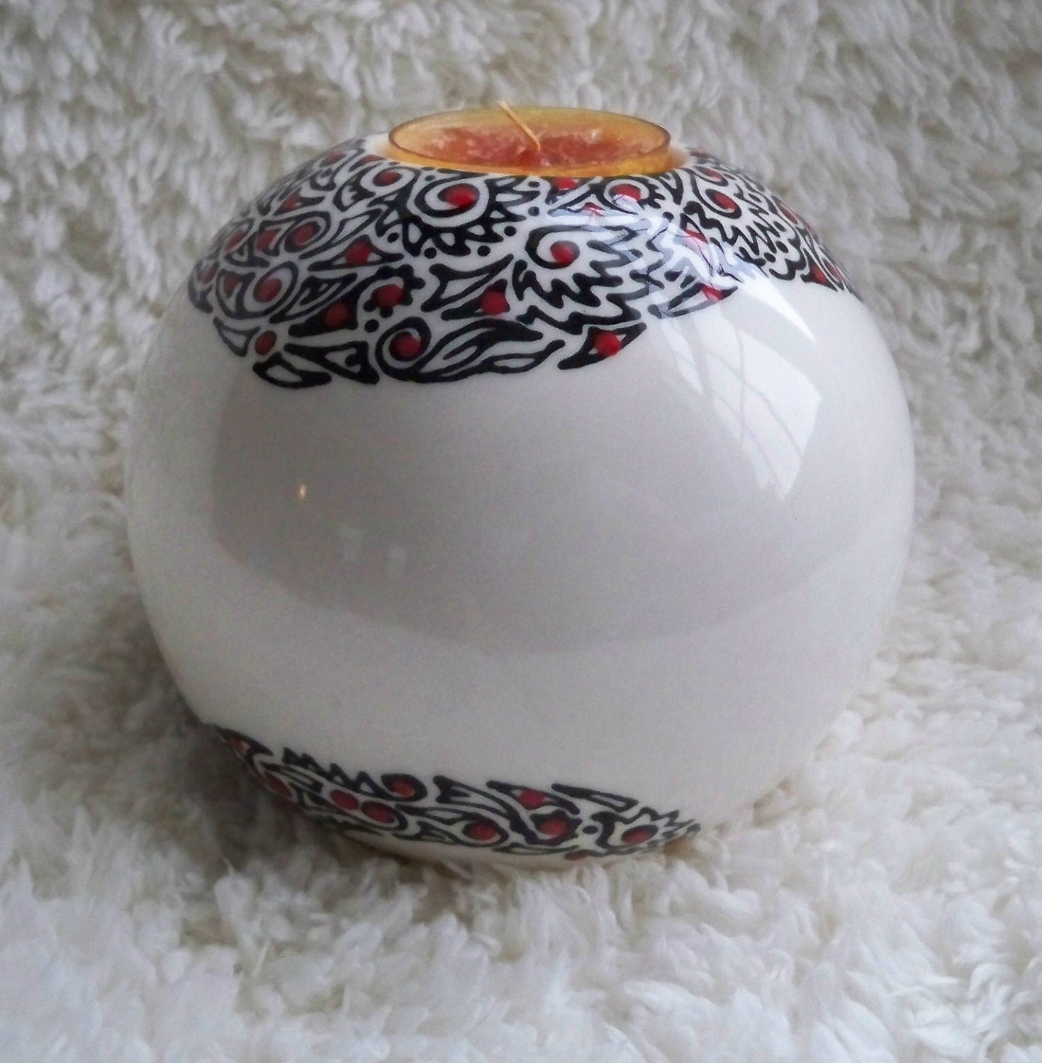 Spherical Ceramic Tea Light Holder With Abstract Designs - ellemardesigns
