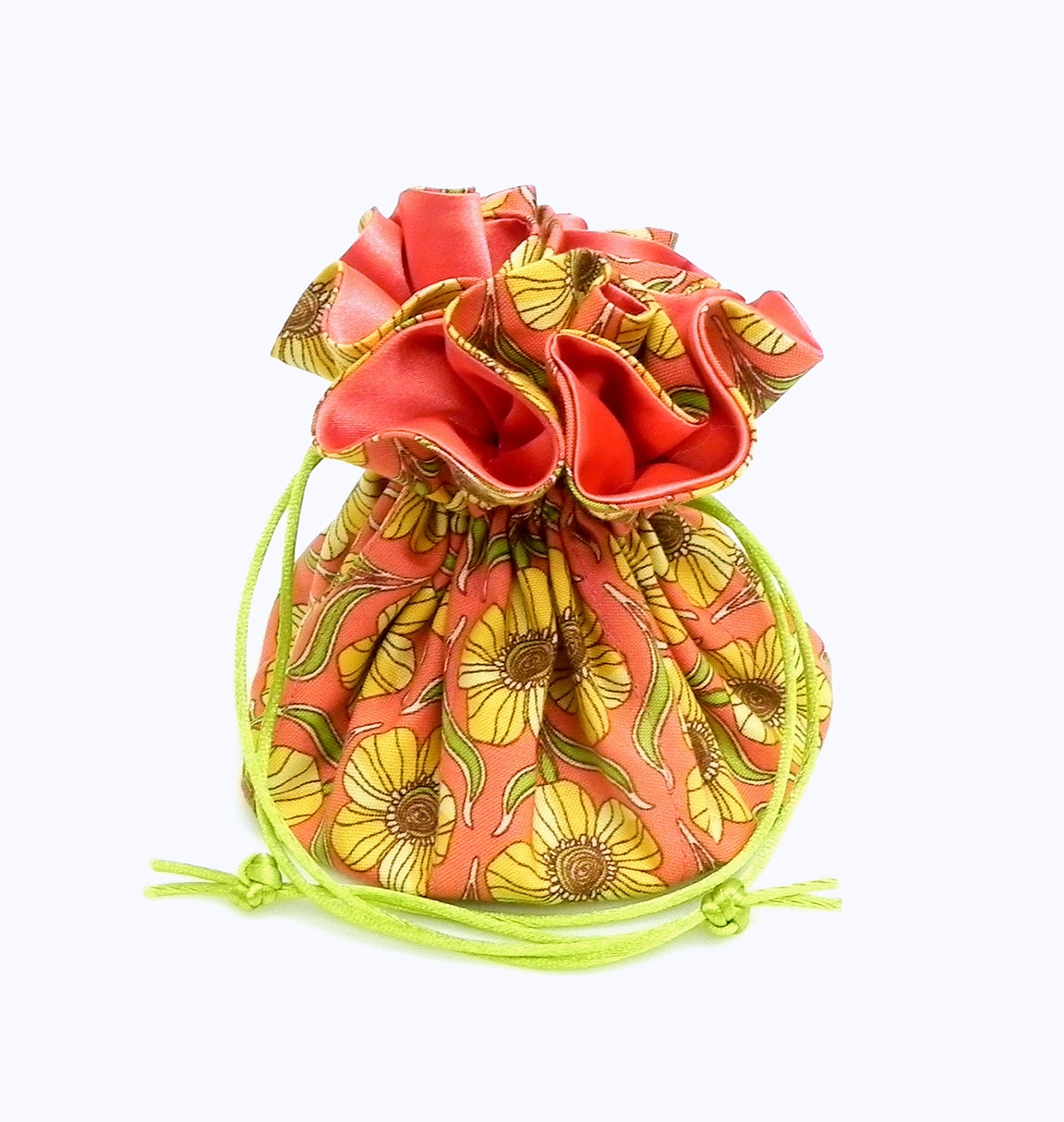 Drawstring Jewelry Pouch - Coral, yellow and green floral travel bag - GaranceCouture