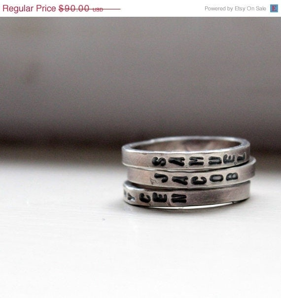 3O PERCENT OFF Hand Stamped Stacking Rings Personalized Mommy Jewelry - tinahdee