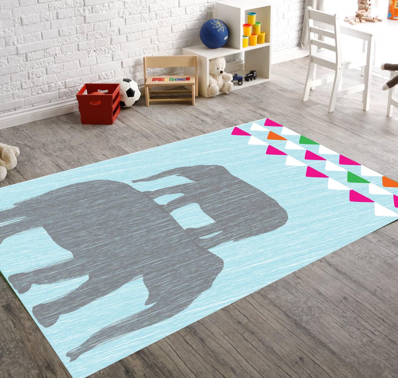 Elefant Teppich Elefant Kinderzimmer Teppich von HawkerPeddler