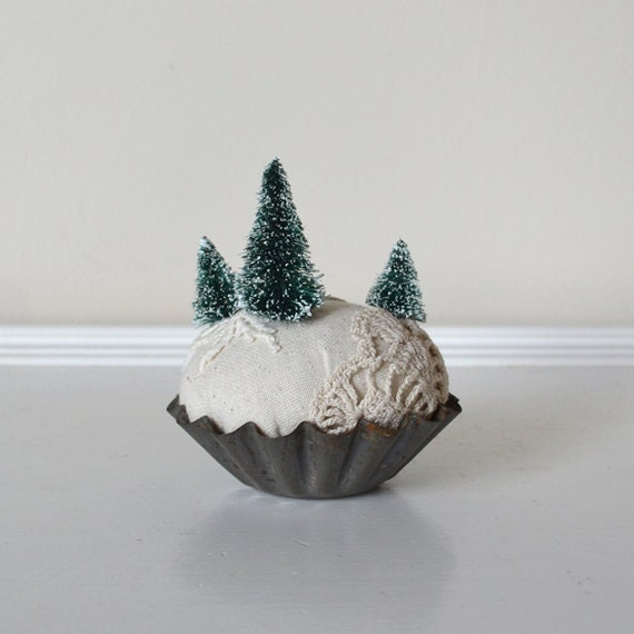 Evergreen Forest Snowy Winter Scene Miniature - Pin Cushion Keepsake - Vintage Inspired Textile Christmas Decoration - asweetreverie