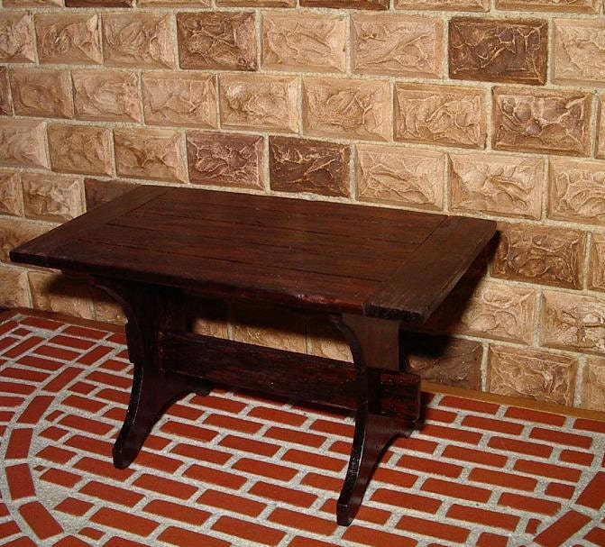 Trestle Table, Tavern Table,  Plank Top, 1/12 scale dollhouse miniature - CalicoJewels