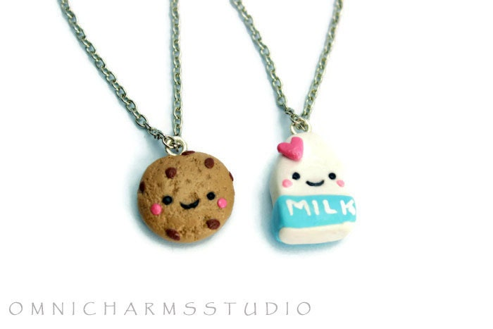 milk and cookie best friend necklace set cute by