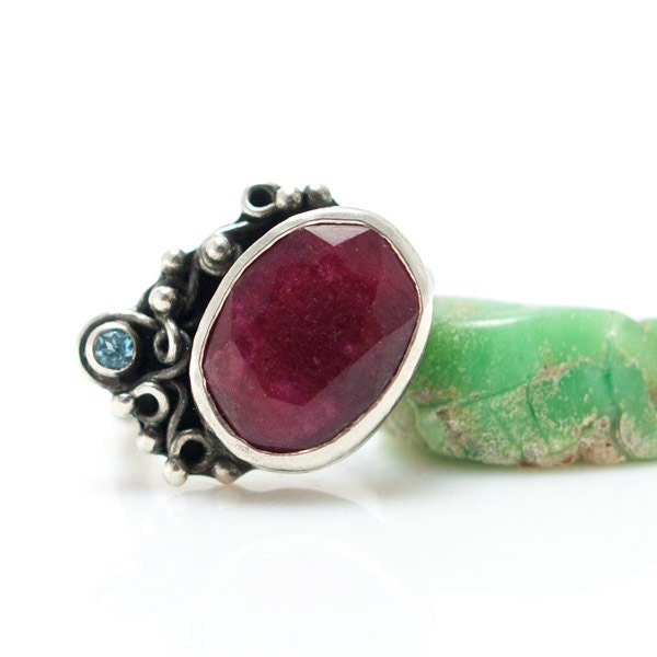 Silver Ruby Ring with Topaz, Metalsmith Handmade Jewelry, One of a Kind, OOAK, Silversmith Ring - MauraSarabeth
