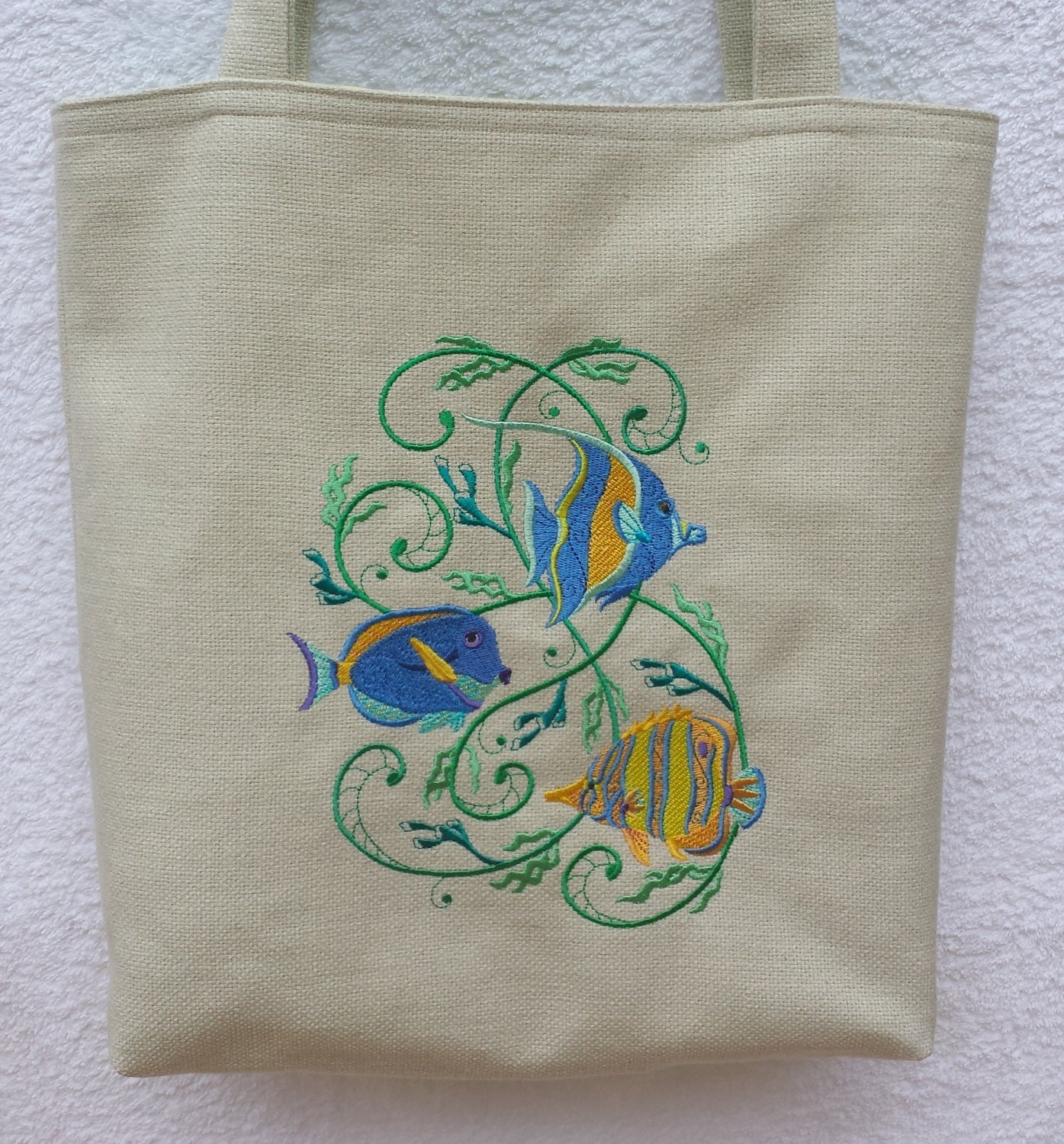 Tropical Fish Embroidered Holiday Tote Bag  Beach bag  yellow  blue geometric shell cotton lining