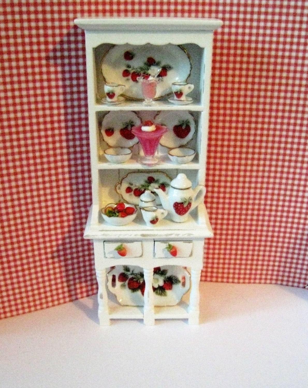 Dollhouse Filled HutchDollshouse  Hutch Miniature hutch strawberry hutch Strawberry themed.  . Twelfh scale dollhouse miniature