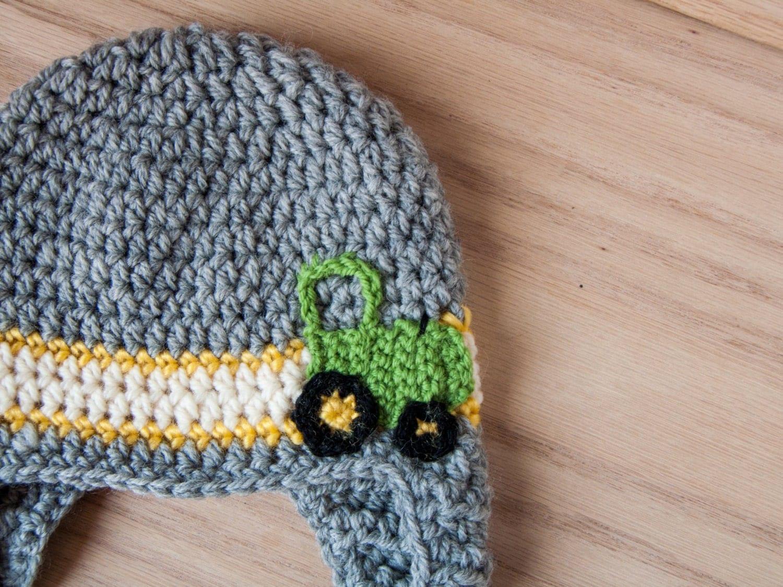 Deere Infant Hat Crochet Pattern : crochet tractor hat baby boy hat tractor by ...