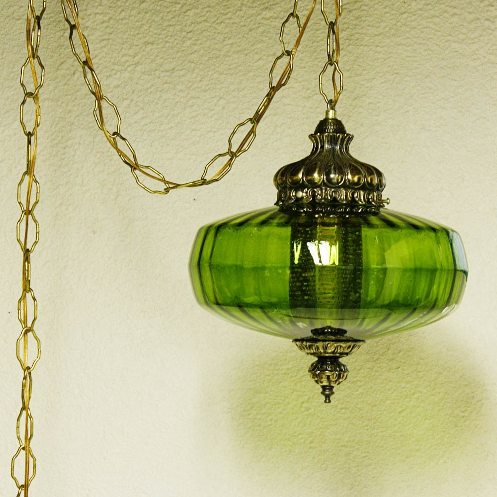 Vintage hanging light hanging lamp green globe chain