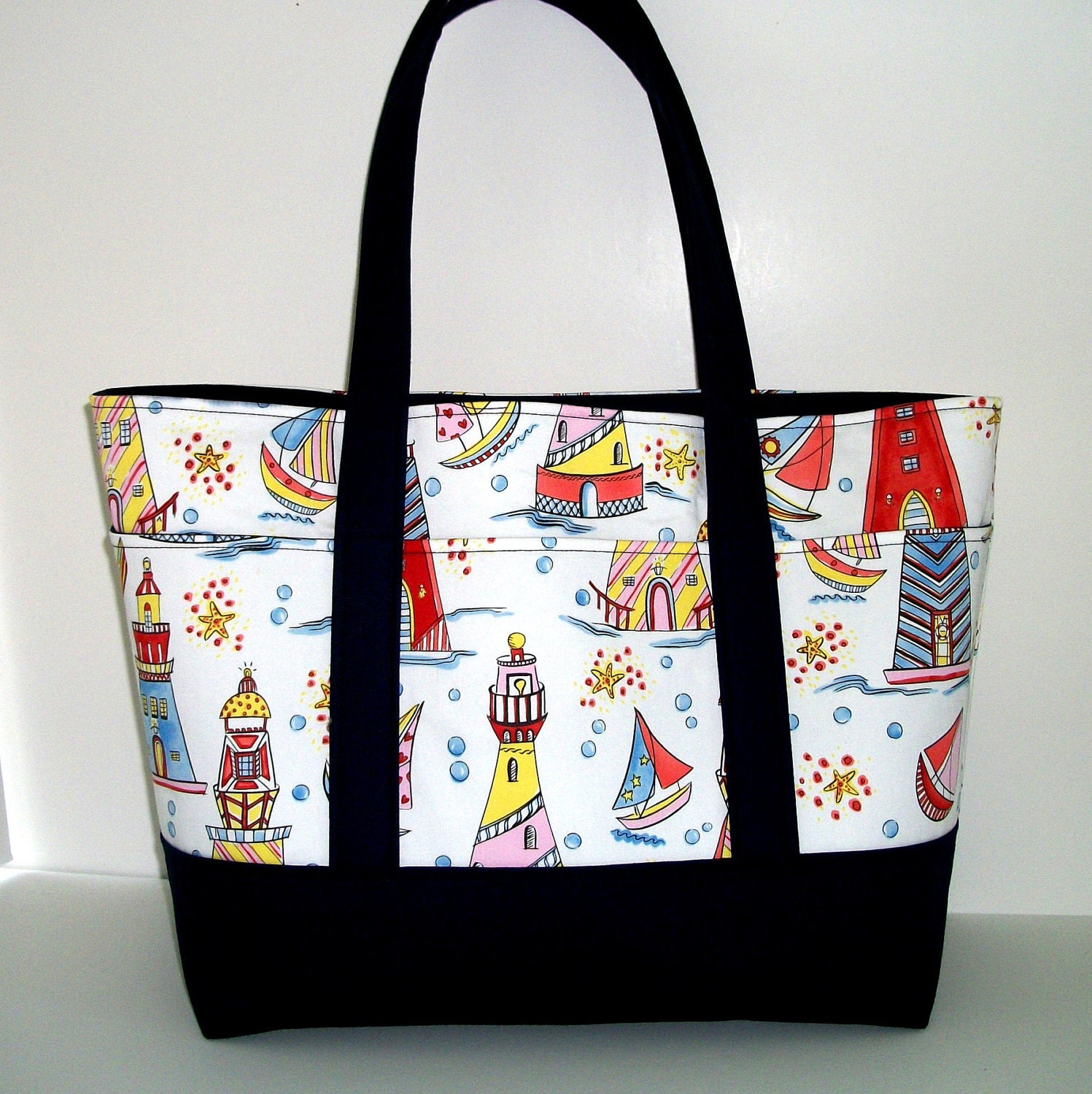 Tote Bag, Lighthouses and Sailboats, Medium Large, 6 Pockets