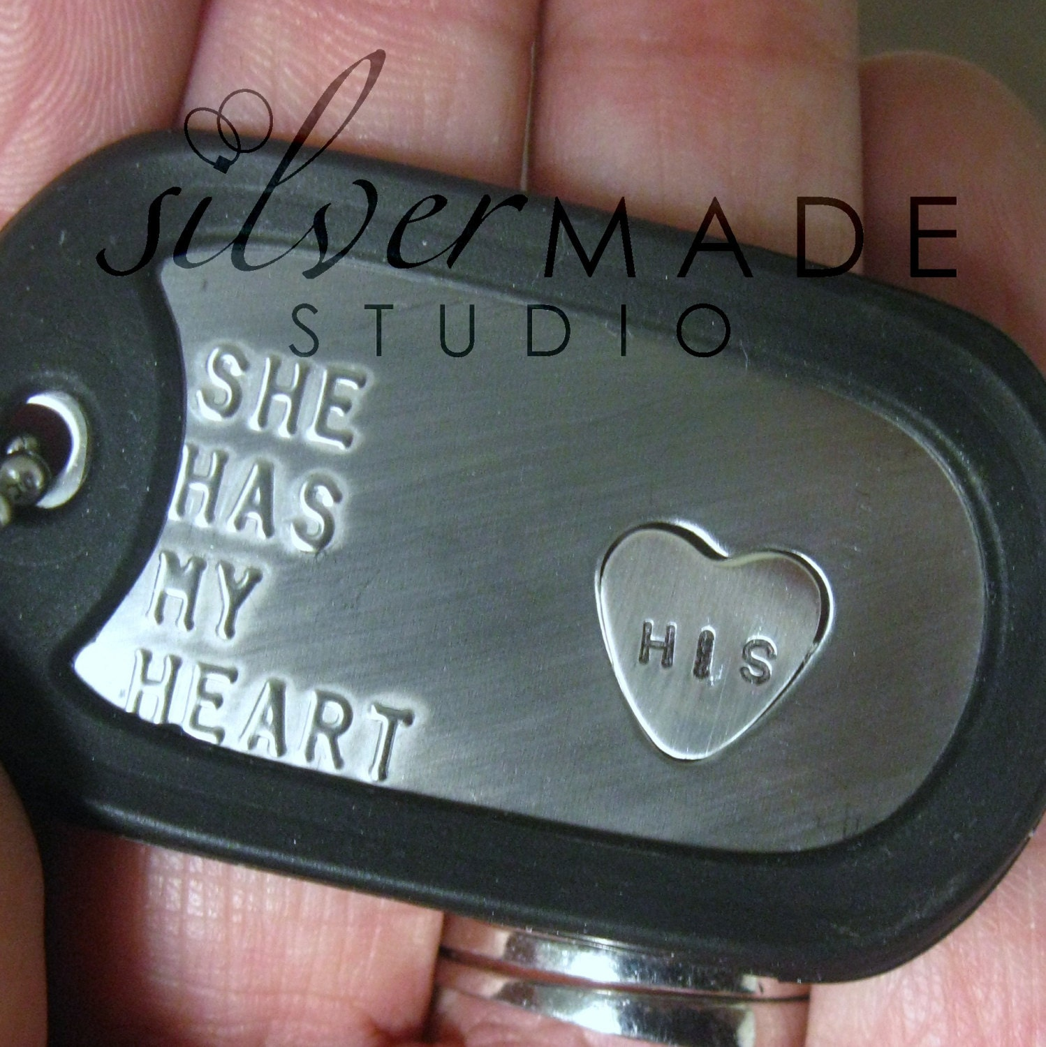 Military Stainless dogtag and sterling HEART RING - SilverMadeStudio